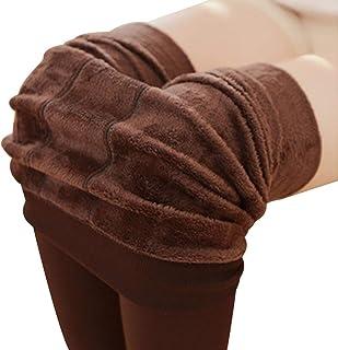 BESTOYARD, BESTOYARD Invierno cálido Polar Forrado Polainas Calcetines Calientes térmicas Gruesas Polainas Negras Inferior para Mujeres niñas (café)