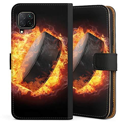 DeinDesign Klapphülle kompatibel mit Huawei P40 Lite Handyhülle aus Leder schwarz Flip Case Eishockey Feuer