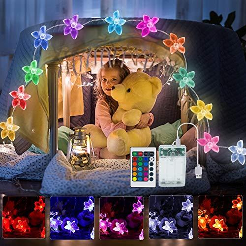 LED Lichterkette Blumen, 4M 40 LED Bunt Lichterkette Batterie & USB mit Fernbedienung für Kinderzimmer Deko Mädchen Deko Schlafzimmer Hochzeit Party Innen Deko Gift Geschenke für Freundin