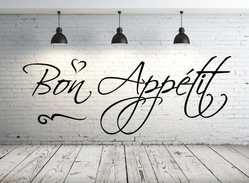 Wandtattoo Küche, 68106-58x22 cm~ Text: Bon Appétit ~ Wandaufkleber Wandtatoos Sticker Aufkleber für die Wand, Fensterbild, Türaufkleber