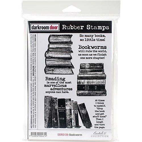 Darkroom Door Cling Stamps 7 x 5-inch Bookworm, 0.15 x 5.9 x 8.65 cm, Multicoloured