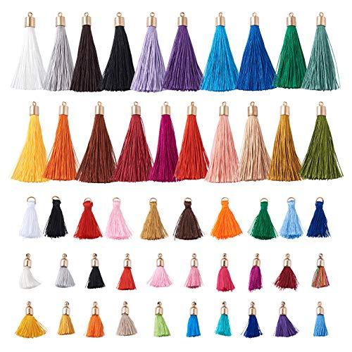 Craftdady 120 colgantes de borla de poliéster de colores a granel con gorras, anillos de salto para pendientes, collares y joyas