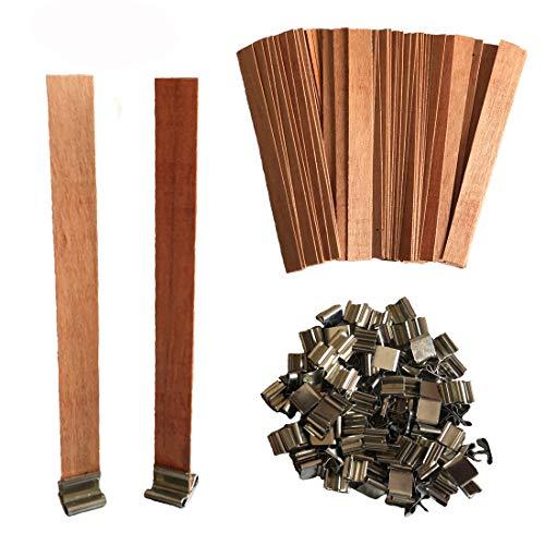 Simoda 100 Piezas Mechas de madera para velas con soportes de hierro para velas Mecha natural ecológica para hacer velas y manualidades con velas,13 x 130 mm (100 pcs)