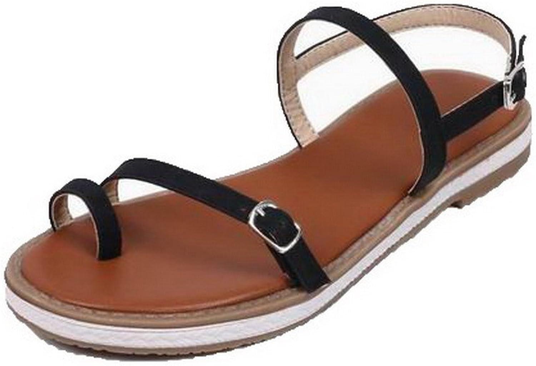 WeenFashion Women's Pu Buckle Open-Toe Low-Heels Solid Sandals, CA18LB05094