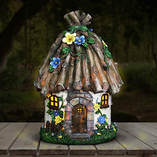 """Exhart Woodland Tree House Solar Garden Statue - Resin Fairy Cottage w/Stone Steps, Red Door & Wall Windows, and Solar Accent Lights - Mini Fairy House Best as Garden Home Decor 7"""" L x 7"""" W x 12"""" H"""
