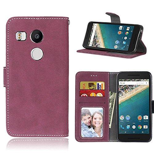 pinlu® Hohe Qualität Retro Scrub PU Leder Etui Schutzhülle Für LG Google Nexus 5X Lederhülle Flip Cover Brieftasche Mit Stand Function Innenschlitzen Design Rose Red