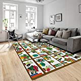 TNIIFICY Impresa en 3D,Tapetes,Indoor Potted Plants On Shelves Set Isolated Flat Style Illustration,Poliester,Alfombra de Piso,Alfombra de Sala de Estar,Alfombrilla Antideslizante