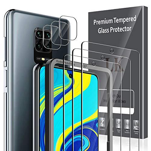 LK 6 Pack Protector de Pantalla Compatible con Xiaomi Redmi Note 9S / Redmi Note 9 Pro,Contiene 3 Pack Cristal Vidrio Templado y 3 Pack Protector de Lente de cámara, Doble Protección