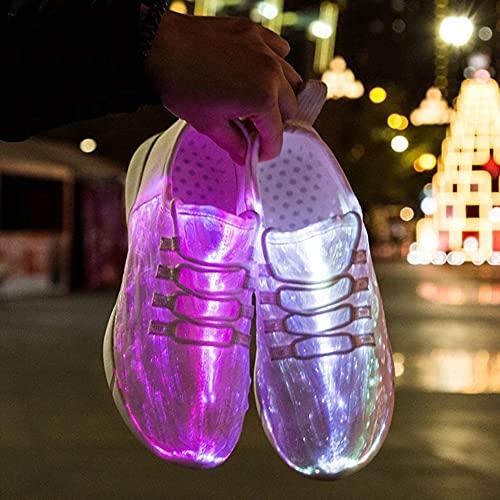 APWIN Zapatos de Fibra óptica para Niños, Niñas y Adultos, Zapatillas Brillantes Recargables por USB, para Fiesta, Zapatos Ligeros de Tela de Fibra óptica, 11 ColoresWhite-34