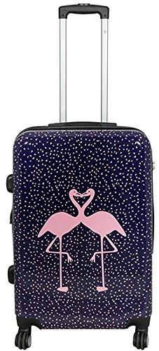 Warenhandel König Polycarbonat Hartschalen Koffer Trolley Reisekoffer Reisetrolley Handgepäck Boardcase Motiv PM (Kissing Flamingos, Größe L)