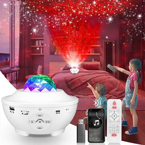 Proyector de Luz Estrellas Galaxia Lámpara Giratorio de Mesa Infantil Con 21 Modos de Iluminación, 360 ° Ondas Giratorias con Bluetooth Temporizador Luz Nocturna Regalos Para Bebés Niños Adultos