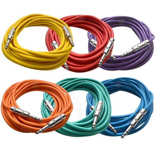 """SEISMIC AUDIO - SATRX-25BGORYP - Pack of Six (6) 25 Foot Colored 1/4"""" TRS Patch Cable - Balanced Cord - Effects"""