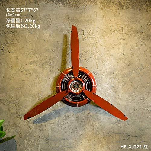 fengling-linyiming-01 Restaurante Industrial Wind Bar Mural Aviones Hélice Estéreo Reloj de Pared montado en la Pared Tienda de té Adornos de Hierro Vintage, Rojo