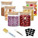 SHAWLAM Vorratsdosen Glas, Aufbewahrungsbox Küche Glas 6er Set, Glasbehälter mit Deckel, Vorratsdosen Luftdicht Aus Borosilikatglas, Vorratsglas mit Deckel Set- Vorratsdosen Set 6x400ml