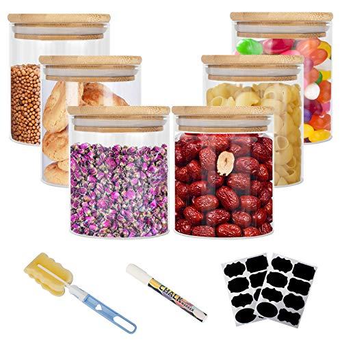 Vorratsdosen Glas, Aufbewahrungsbox Küche Glas 6er Set, Glasbehälter mit Deckel, Vorratsdosen Luftdicht Aus Borosilikatglas, Vorratsglas mit Deckel Set- Vorratsdosen Set|6x400ml