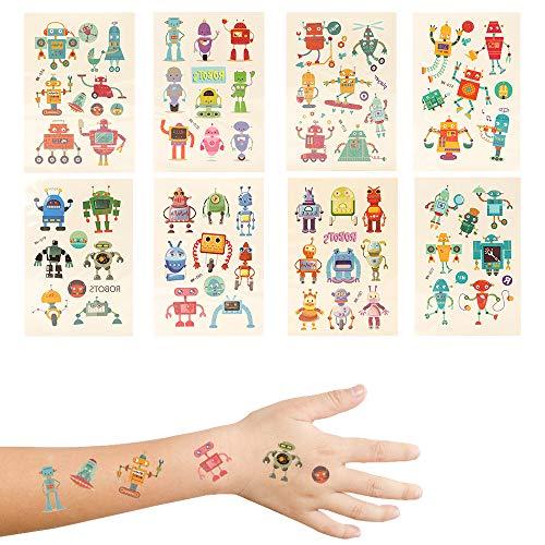 Kinder Tattoo Set, 200 Cartoon Roboter Temporäre Tattoo Set Kinder Aufkleber Sticker für Jungen Mädchen Mitgebsel Kindergeburtstag