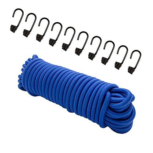 Expanderseil 20 m Blau, (Gummiseil) 8 mm Gummischnur Spannseil Planenseil Gummileine Seil + 10 Spiralhaken für 8mm Seil Haken Metallhaken