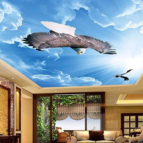 ZJfong moderne schilderkunst muurschildering blauwe hemel witte wolken vliegen Eagle woonkamer slaapkamer plafond behang muurschilderingen 3D 330x210cm