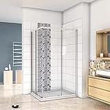 Mampara de Ducha Angular cabina de ducha mampara de ducha cuadrada Puerta Corredera Cristal 5 MM perfilería gris mate 76x76x185cm