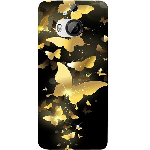 Casotec Golden Butterfly Pattern Design Hard Back Case Cover for HTC One M9 Plus