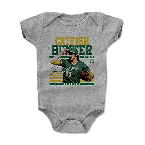 500 LEVEL Catfish Hunter Oakland Baby Clothes, Onesie, Creeper, Bodysuit (Onesie, 6-12 Months, Heather Gray) - Catfish Hunter Sport G