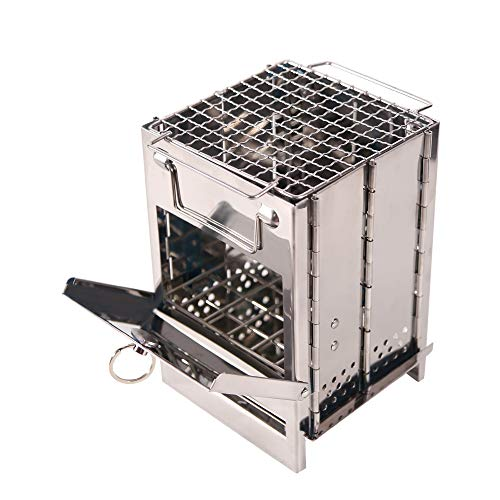 Domaker Wood Burning Camp Stove,304 Stainless Steel Backpacking Stoves with Mini BBQ Grill and Carry Bag for Hiking Camping Cooking,Small Size