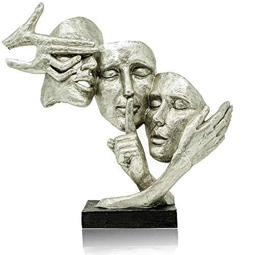 Formano Dekoration Masken - hochwertige Silberne Masken als Deko für Zuhause oder als Geburtstagsgeschenk
