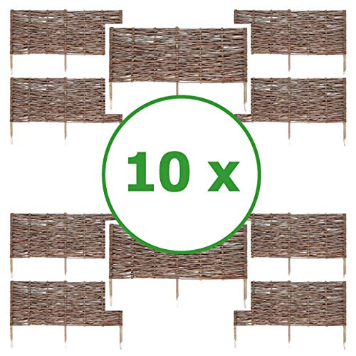 BOGATECO 10 x Beeteinfassung aus Weide | 100 cm Lang & 40 cm Hoch | Holz-Zaun Rasenkante | Weiden-Zaun Steckzaun Perfekt für den Garten als Weg-Abgrenzung