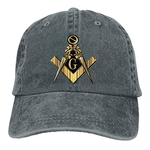 Zhgrong Unisex Pigment Dyed Denim Baseball Caps Freemason Square und Compass Trucker Hats Verstellbarer Snapback