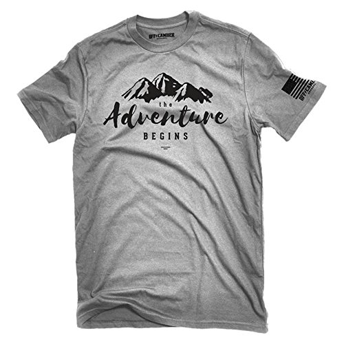 The Adventure Begins Tshirt Offroad with 4x4 TJ JK JL Outline Made in The USA Rock Crawling 4x4 (XLarge) Ash Gray