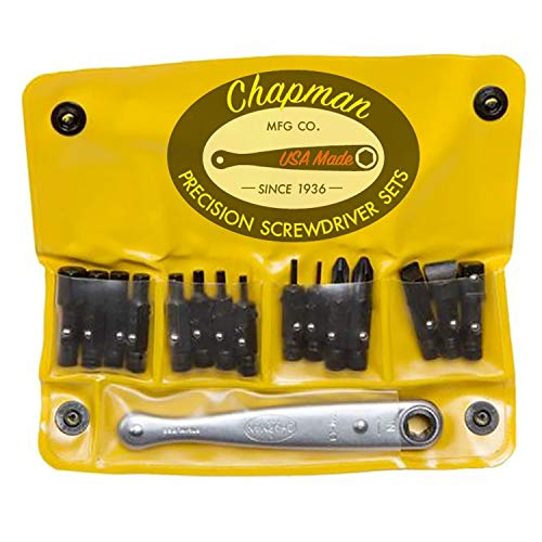 Chapman MFG 1316 All-Purpose Screwdriver Set - 16 Pieces - Includes USA Made SAE Allen Hex, Slotted, Phillips Insert Bits & Mini Ratchet, Soft Vinyl Case, Pocket Size Pack