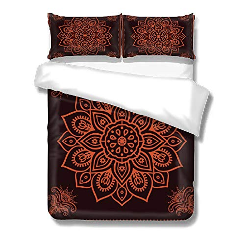 pealrich Duvet Cover 3 Piece Set with Zipper Closure, Rogue Red Paisley Bedding Set with 2 Pillow Shams, Queen Bed Set for Kid/Teen/Adult