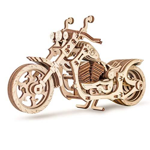 EWA Eco-Wood-Art EWA EcoWoodArt 3D Holzpuzzle für Jugendliche und Erwachsene-Mechanisches Cruiser-Motorradmodell-DIY-Bausatz des Rades, kein Kleber erforderlich