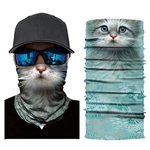 SOONHUA Bandana voor mannen, 3D Animal Print Naadloze Nek Winddicht Gezicht Shield Bandana Hoofdband Sjaal voor Outdoor Fietsen Vissen Camping Wandelen