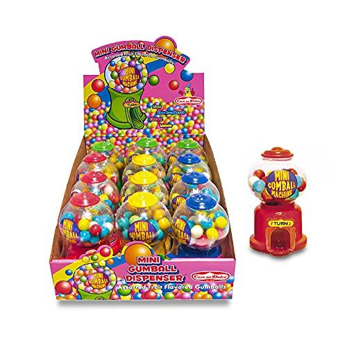 CASA DEL DOLCE Mini Gum Ball Machine, Giocattolo con Gomme da Masticare al Gusto di Fragola, Mela Verde e Lime, Confezione da 12 Pezzi, Made in Italy, Idee Regalo per Compleanni e Feste
