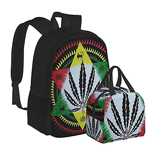 Rasta Lion Muscle Jah Giamaica Reggae Marijuana Leaf Zaino per scuola media universitaria studente bookbag adolescenti computer portatile borsa casual
