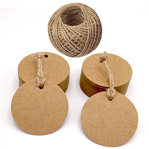 jijAcraft 100PCS Round Gift Tags,Kraft Paper Gift Tags 5.5CM Brown Tags Labels with 30M Jute Twine for Crafts