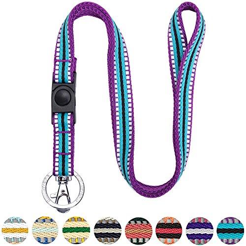 "Blueberry Pet 3M Reflective Multi-Colored Stripe Violet and Celeste Men Women Fashion Non Breakaway Lanyard Keychain for Keys/ID Card/Badge Holder, 3/4"" Wide"