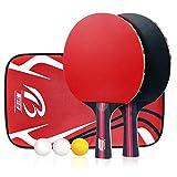 Homga Ensemble de Tennis de Table, 2 Pack Plus pagaies Premium, kit de Raquettes de Formation/Loisir, Accessoires Sac Housse étui Portable