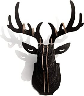 Hooshing Wall Decor Deer Head Antlers Trophy Sculpture DIY 3D Puzzle Black, Wall Decoration for Living Room Office