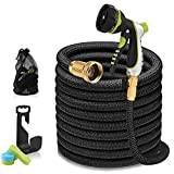 25ft Garden Hose - Expandable Water Hose with 13-Layer Latex Core, 3/4' Solid Brass Fittings, Extra-Flexible Fabric & 8 Pattern Spray Nozzle, 3-Year Warranty