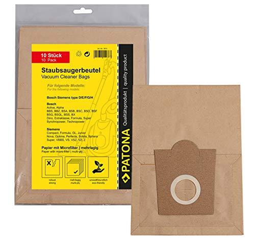 PATONA 10x Sacchetti per aspirapolvere carta compatibile con Bosch Org. Typ D E F G BBS BBZ BSA BSC BSF BSG…