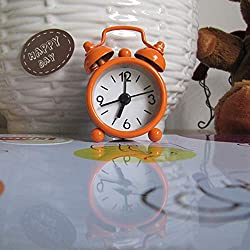 Glumes Mini Non-Ticking Vintage Classic Analog Alarm Clock with Backlight, Battery Operated Travel Clock, Loud Twin Bell Alarm Clock Easy to Read for Home Office School Bedrooms, Bedside, Desk