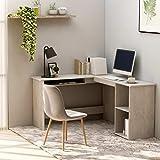 <span class='highlight'><span class='highlight'>SKM</span></span> L-Shaped Corner Desk Concrete Grey 120x140x75 cm Chipboard