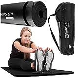Hop-Sport Gymnastikmatte NBR180x61cm in Zwei Stärken/Fitnessmatte ist rutschfest und verformt Sich Nicht + Tragegurt (1cm schwarz)