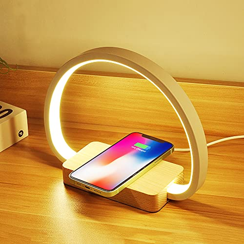 Lámpara de mesita de noche con cargador inalámbrico de 10 W y carga USB, luz nocturna táctil, regulable, de madera, con 3 niveles de brillo, lámpara de mesa para dormitorio, estudio o oficina