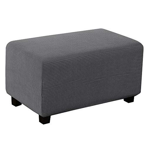 Turquoize Stretch Ottoman Cover Ottoman Slipcover Sofa Cover Footstool Protector Storage Ottoman Covers Furniture Protector Soft Rectangle slipcover with Elastic Bottom (Large, Gray)