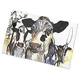 Manteles Individuales Alfombrilla de Comedor Tres vacas Holstein vaca caw Set de 6 piezas Salvamanteles Individuales 30X45CM