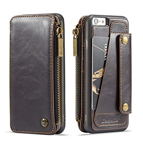 Wallet Leather Case for Apple iPhone 6s Plus iPhone 6 Plus,Brown 4 Card Slot (ID Card,Credit Card) 2 Money Pockets(one Zipper) Full Protection 5.5inch Removable Design Best Gift for Girls Boys Unisex