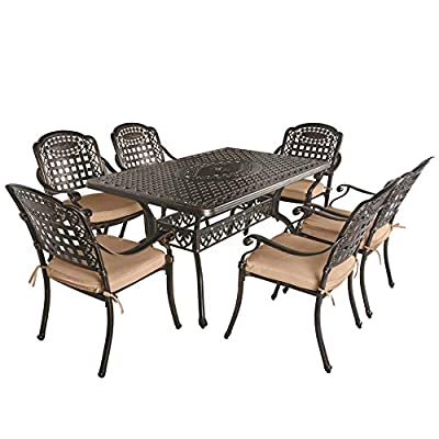 OKIDA 7 Piece Outdoor Cast Aluminum Patio Dining Set, Conversation Furniture Set for Patio Deck Garden with 1 Rectangular Table, 6 Chairs and 6 Cushions, Umbrella Hole